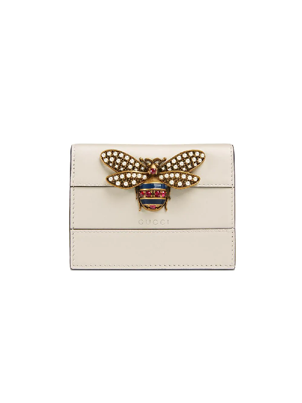 5b95c0740090 Gucci Queen Margaret Leather Card Case Wallet In White. SIZE & FIT  INFORMATION