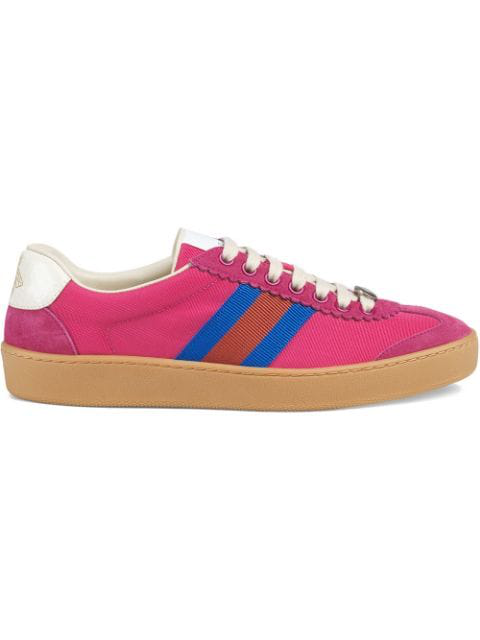 Gucci Nylon And Suede Web Sneaker In Pink