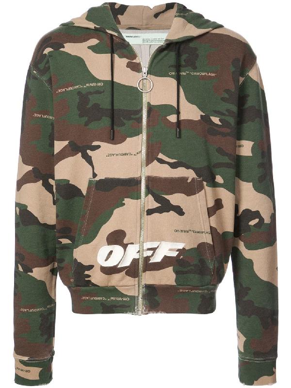 e9588aa620b4 Off-White Beige   Green Camo Zip Hoodie In Brown