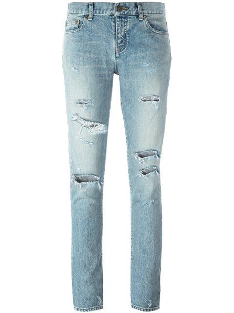 Saint Laurent Skinny Distressed Jeans - Blue