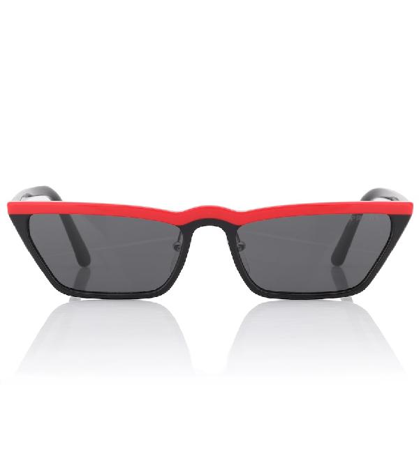 Prada Ultravox Cat Eye Sunglasses In Red Black/Grey