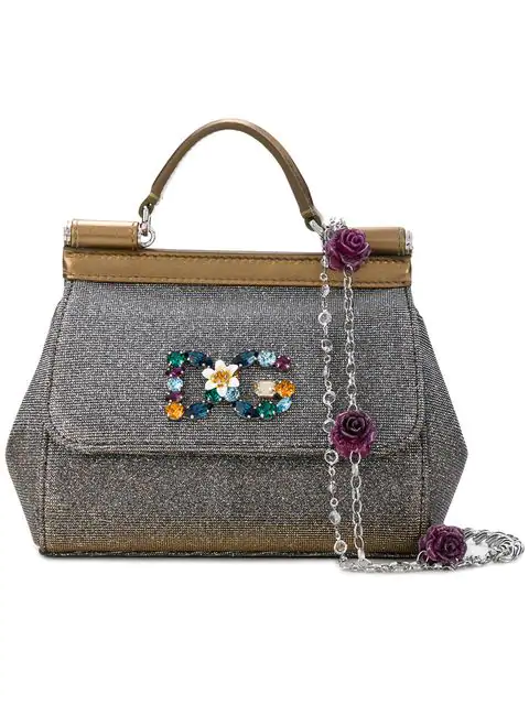 5e54982459a Dolce & Gabbana Mini Leather Sparkling Sicily Bag In Metallic | ModeSens