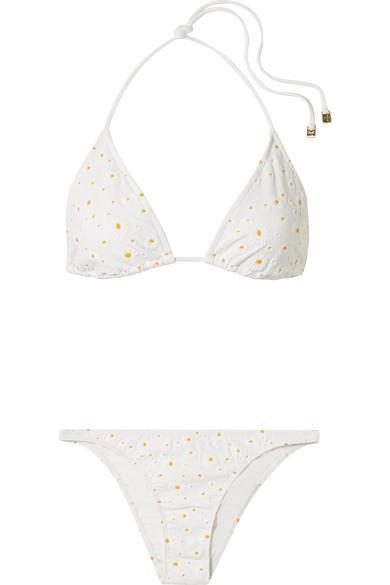 1b02392c6fab53 Tory Burch Daisy AppliquÉD Triangle Bikini In Cream