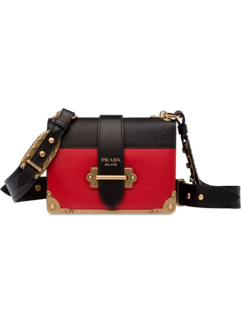 5d7916d8ac57a0 Prada Cahier Color Block Leather Shoulder Bag In Black | ModeSens