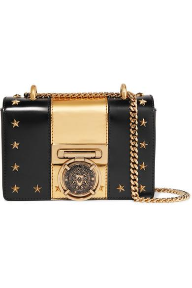 f27823b030ba Balmain Embellished Two-Tone Leather Shoulder Bag In Black | ModeSens