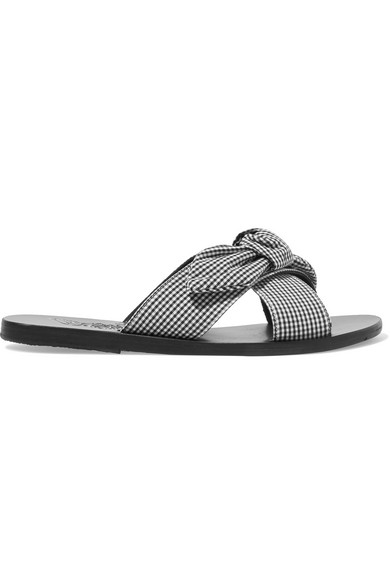 eac5dc0fb1e1 Ancient Greek Sandals Thais Bow-Embellished Gingham Cotton Slides In Black