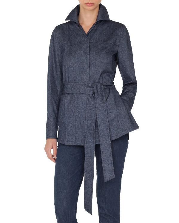 Akris Self-Belt Cashmere-Cotton Flannel Tunic Blouse In Indigo