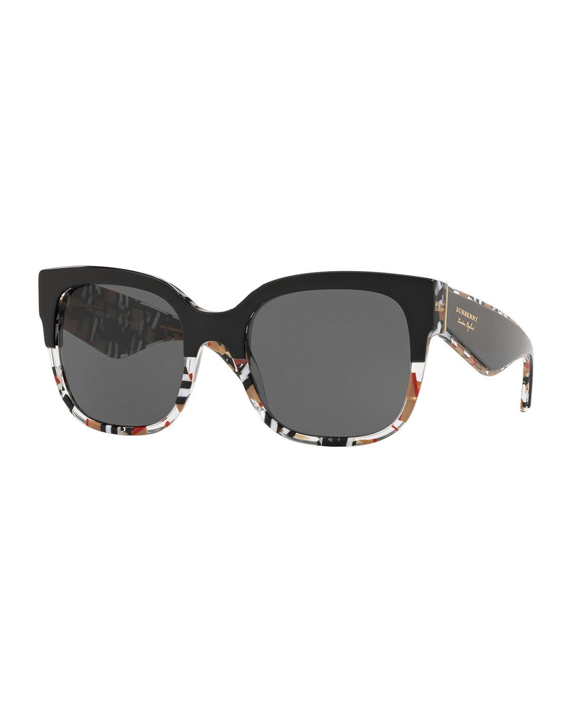 de6e69ef1b7 Burberry 56Mm Cat Eye Sunglasses - Black  Check Print In Top Black ...