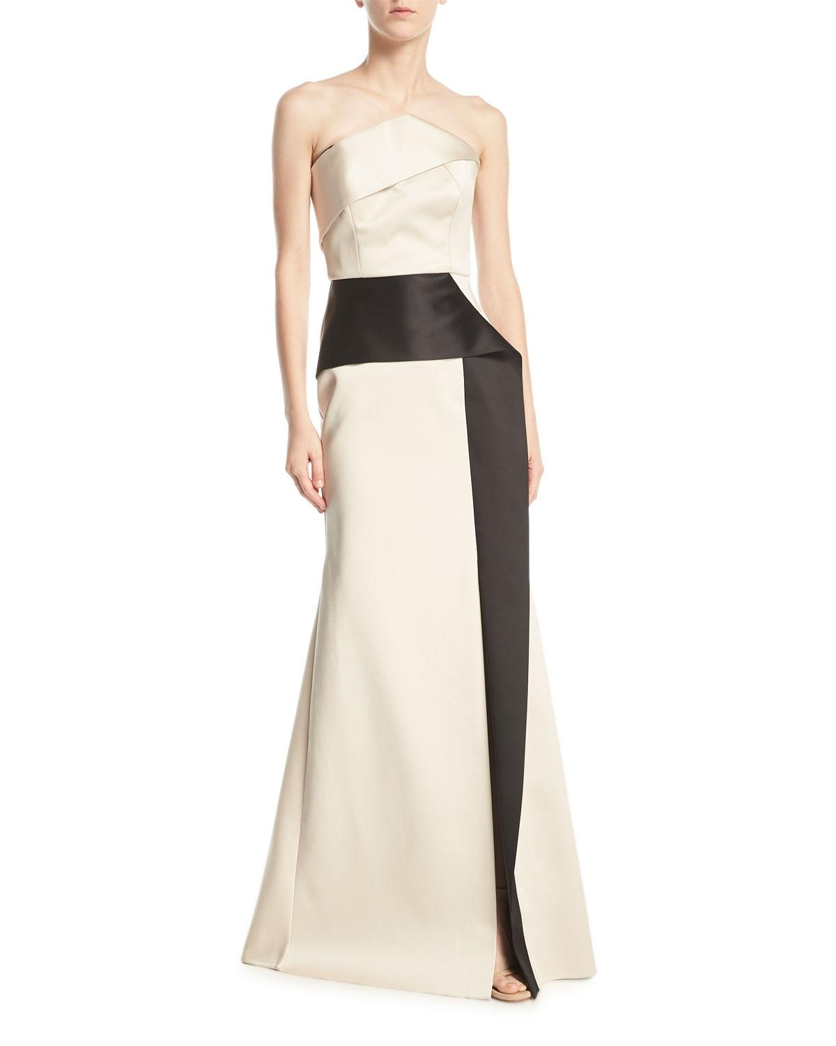 c0e247f44683 Roland Mouret Addover Strapless Two-Tone Peplum Evening Gown, Pink/Black