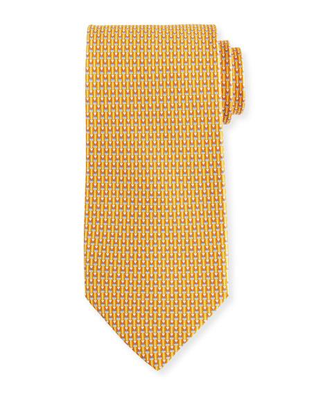 Salvatore Ferragamo Fina Graphic Silk Tie In Yellow