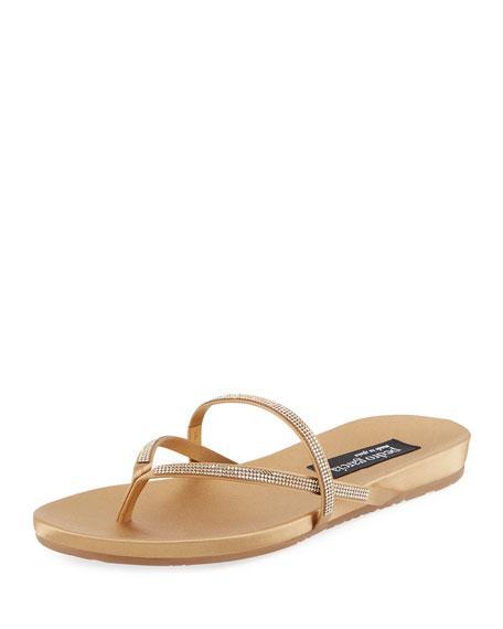 87c64d7b7 Pedro Garcia Giulia Crystal Strappy Flat Thong Slide Sandal In Ore ...