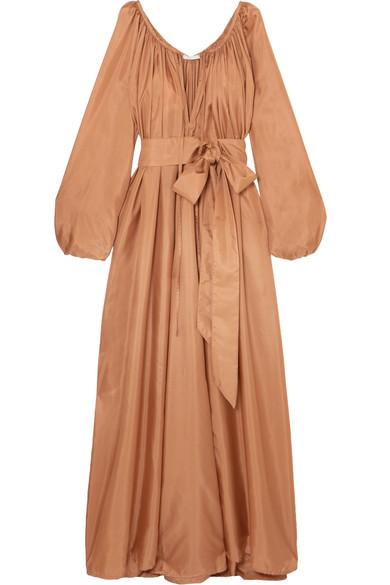daa6eee398 Kalita Andromeda Belted Silk-Habotai Maxi Dress In Bronze