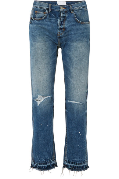Current Elliott The Throwback Original Distressed High-rise Straight-leg Jeans In Mid Denim