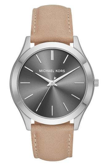 Michael Kors 44Mm Slim Runway Watch W/ Leather, Gray/Brown