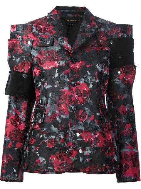 Comme Des GarÇons Flowers Jacquard Jacket In Black
