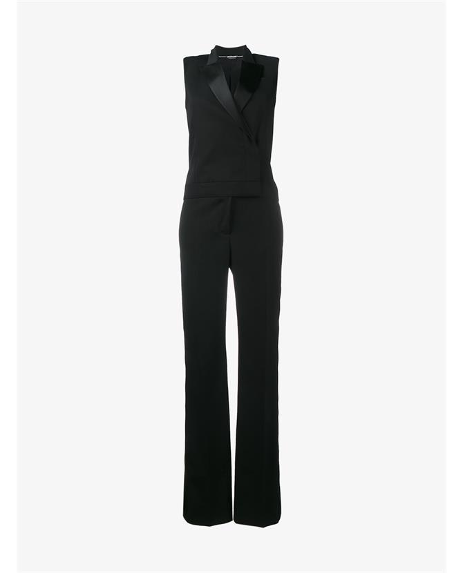 Alexander Mcqueen Satin-trimmed Wool And Silk-blend Jumpsuit In Black