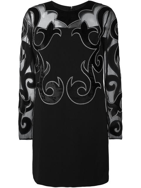 Fausto Puglisi Damask Detail Dress In Black