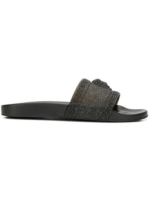 Versace Men's Glitter Shower Slide Sandals In K41A Grey