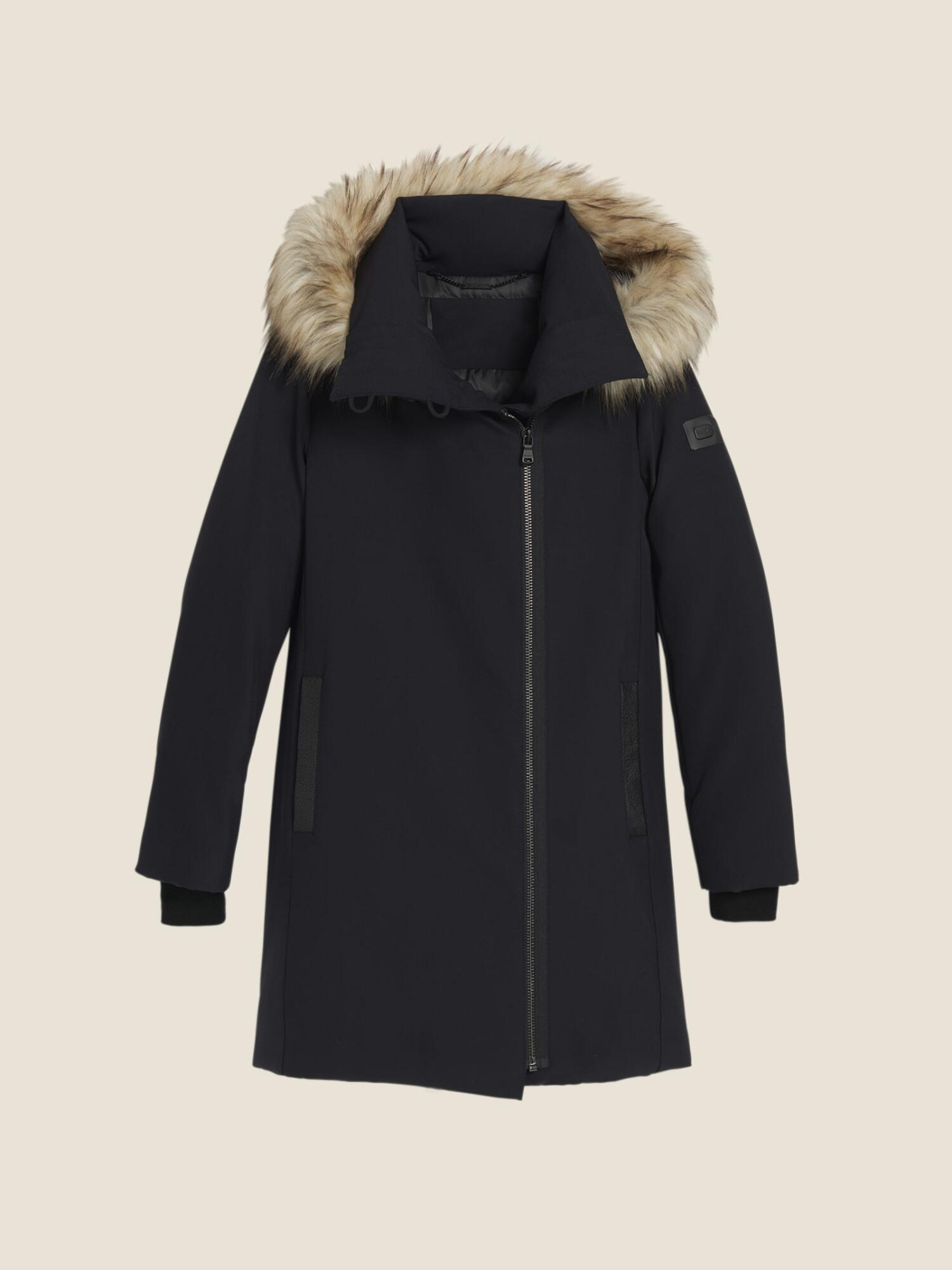 7570085753fc3 Donna Karan Nylon Puffer Coat With Faux Fur Trim In Black | ModeSens