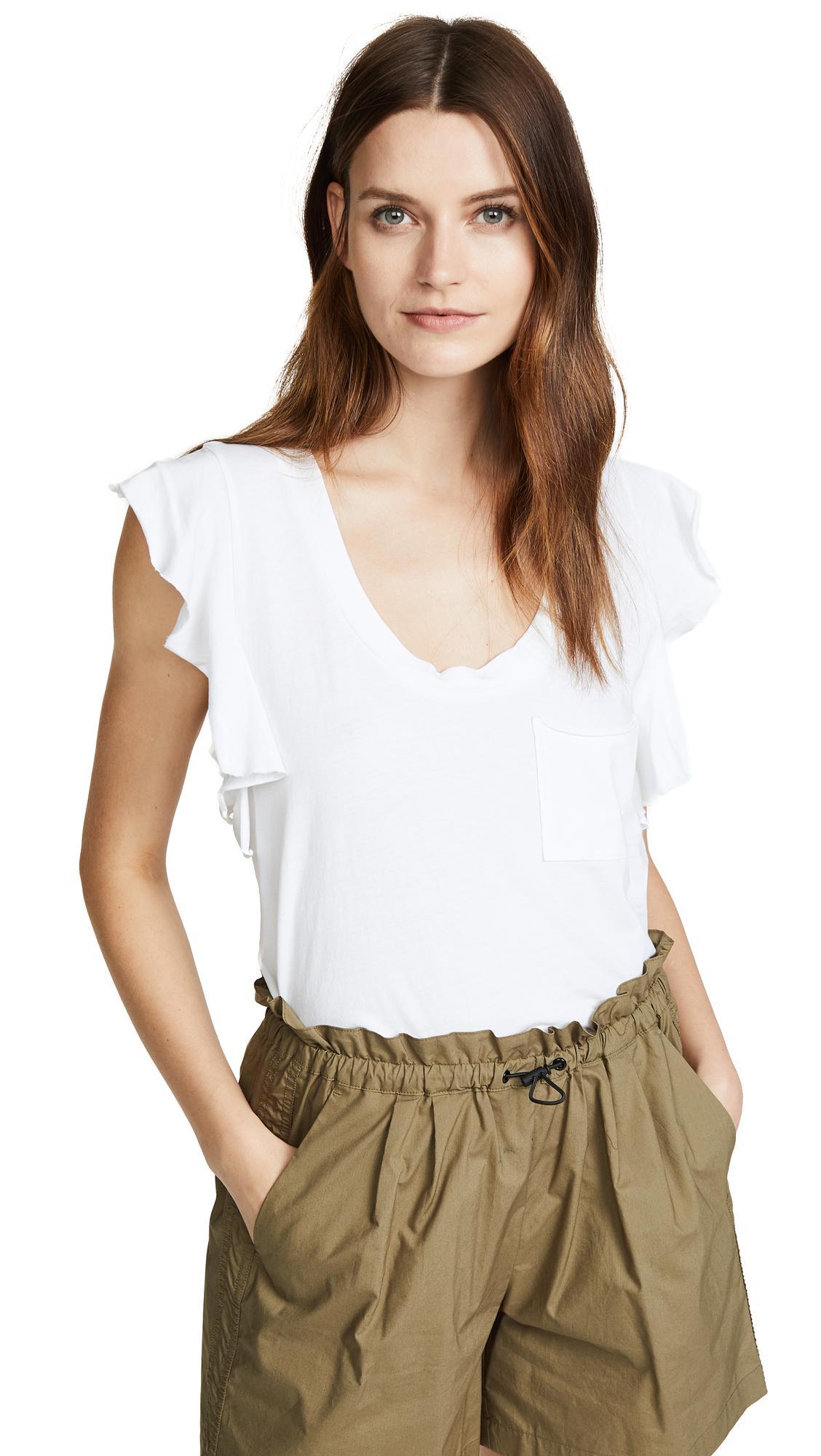 2d9875c89fb56 Pam & Gela Raw-Edge Flutter-Sleeve Tee In White | ModeSens