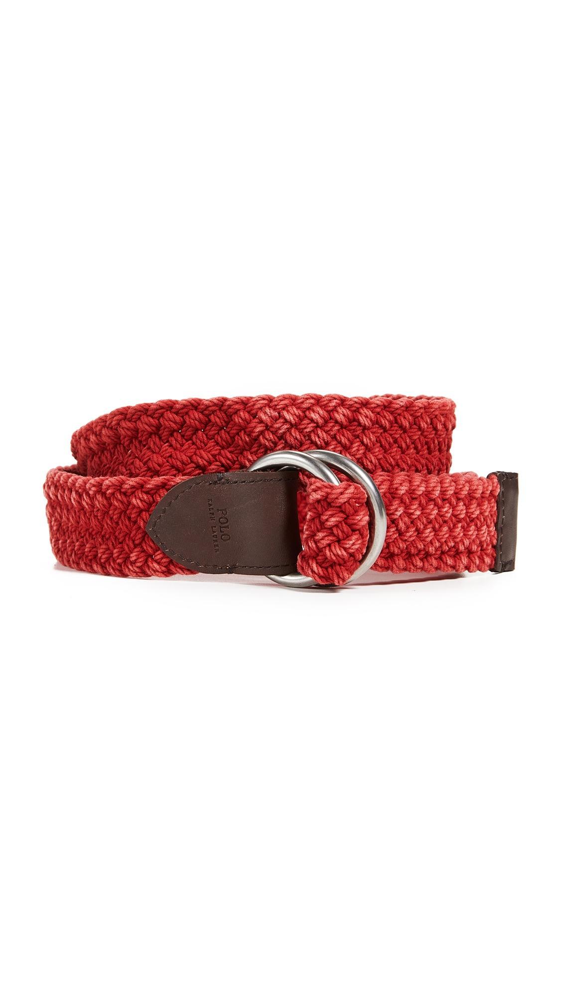 Polo Ralph Lauren Braided Belt In Red