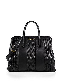 Miu Miu Matelasse Double-Handle Quilted Leather Tote In Nero