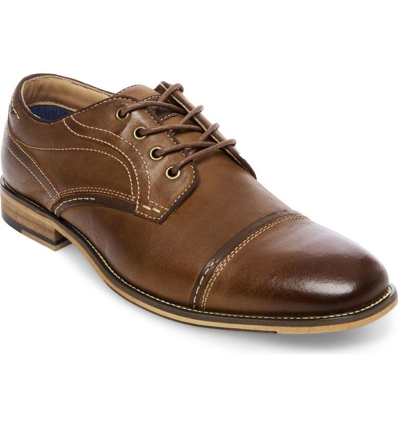 055c18a5789 Steve Madden Jenton Cap Toe Derby In Dark Tan Leather