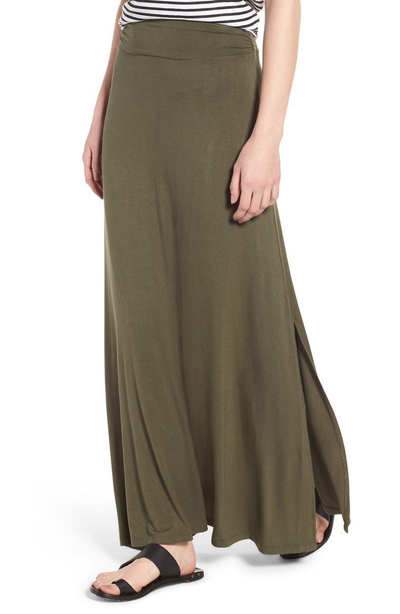 68ae93b50f Bobeau Ruched Waist Side Slit Maxi Skirt In Olive | ModeSens