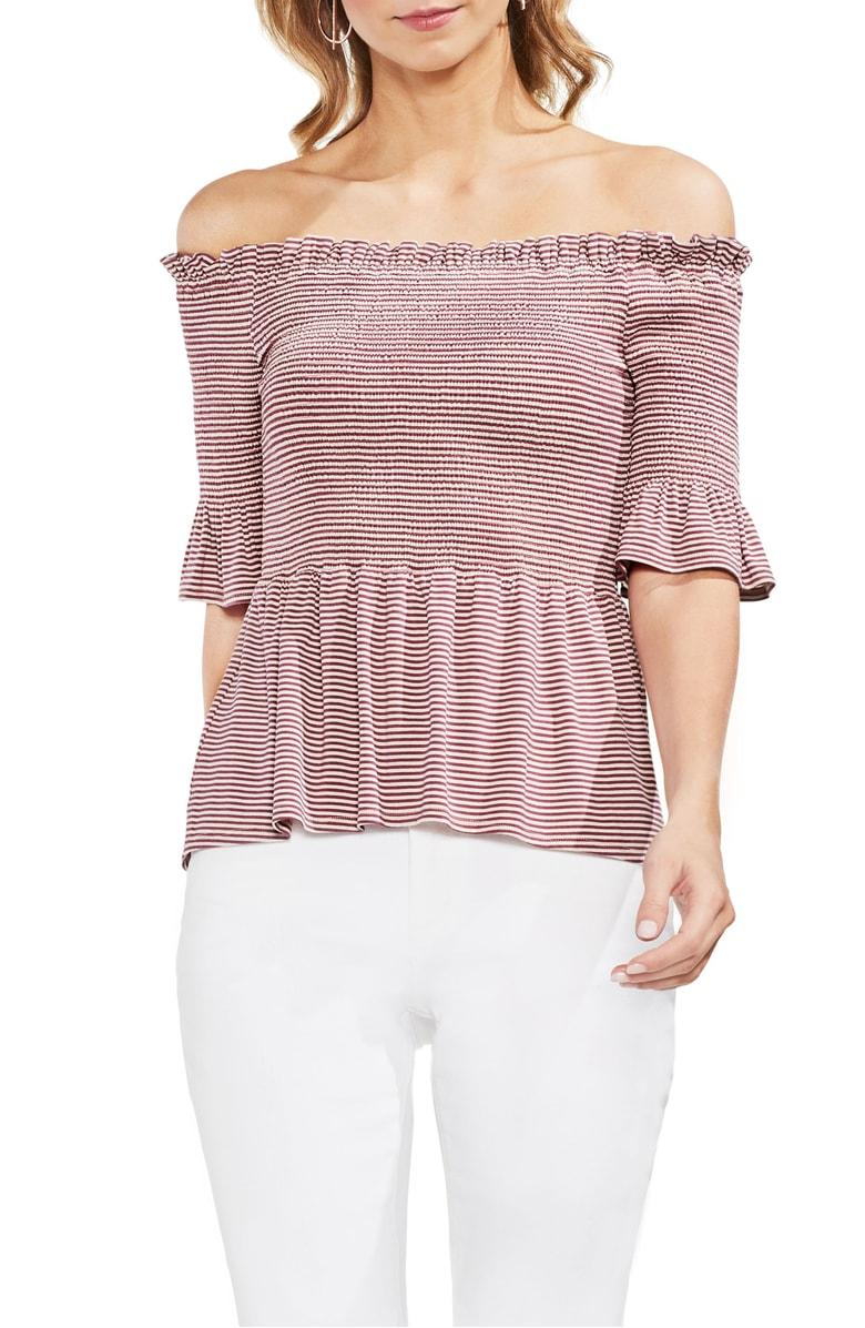 3aab5c4062511 Style Name  Vince Camuto Off The Shoulder Striped Top. Style Number   5584204.