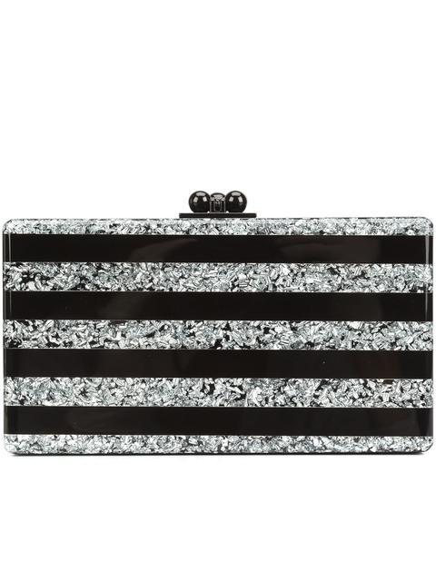 Edie Parker Jean Confetti Striped Acrylic Clutch Bag In Black/Silver Confetti