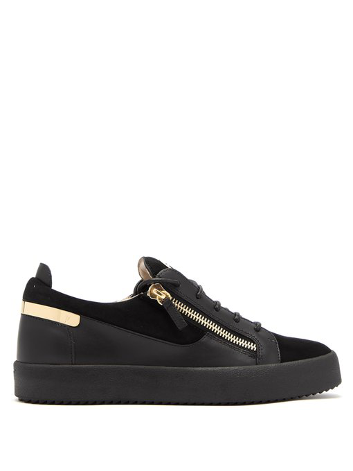 3c71b761bd9 Giuseppe Zanotti Logoball Leather And Suede Sneakers - Black | ModeSens