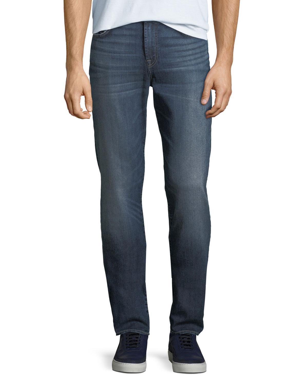7 For All Mankind Men's Straight-leg Airweft Denim Jeans In Medium Blue