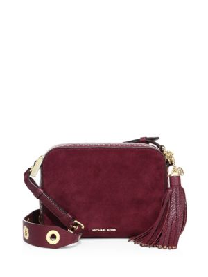a7139d297f0e Michael Michael Kors Brooklyn Large Grommeted Suede Camera Bag In Brick