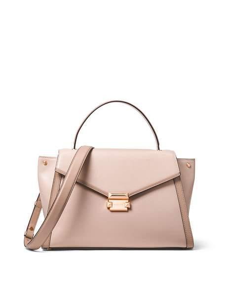 488d063df45b20 Michael Michael Kors Mercer Large Leather Top-Handle Satchel Bag In Light  Pink