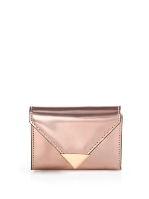 Alexander Wang Woman Prisma Metallic Glossed-leather Wallet Rose Gold