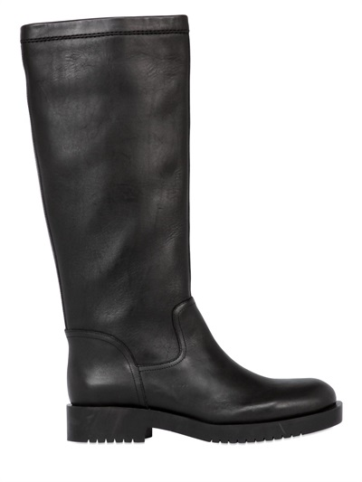 Jil Sander Leather Boots In Black