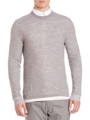 Vince Double Layer Crewneck Sweater In Heather Stone