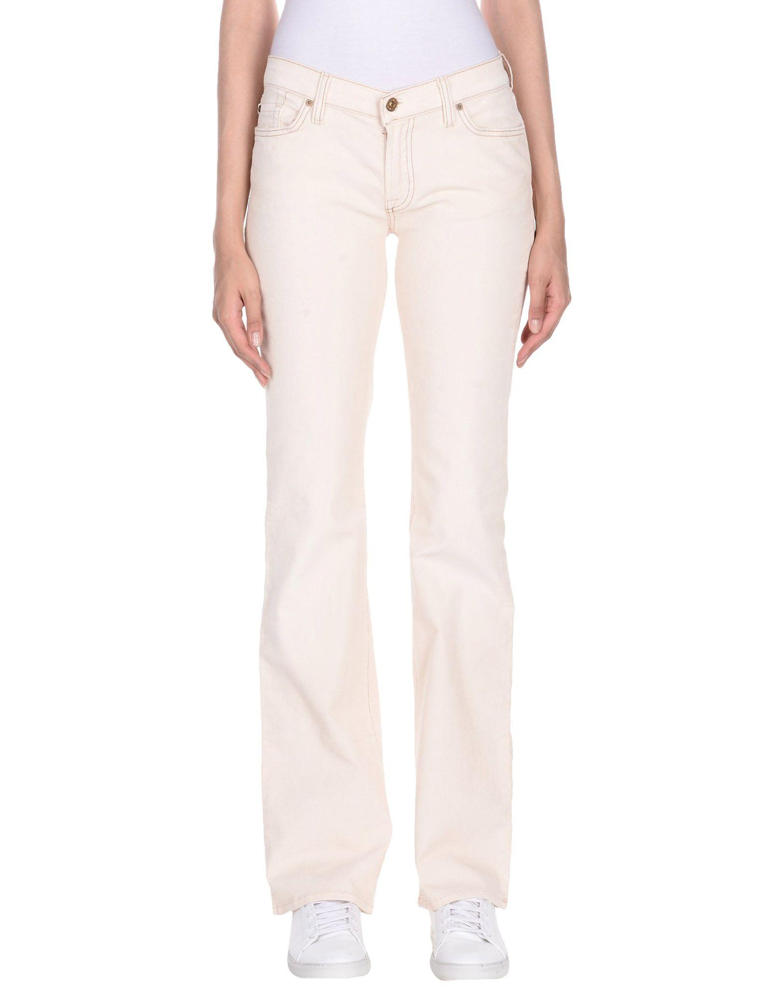 7 For All Mankind Casual Pants In Ivory
