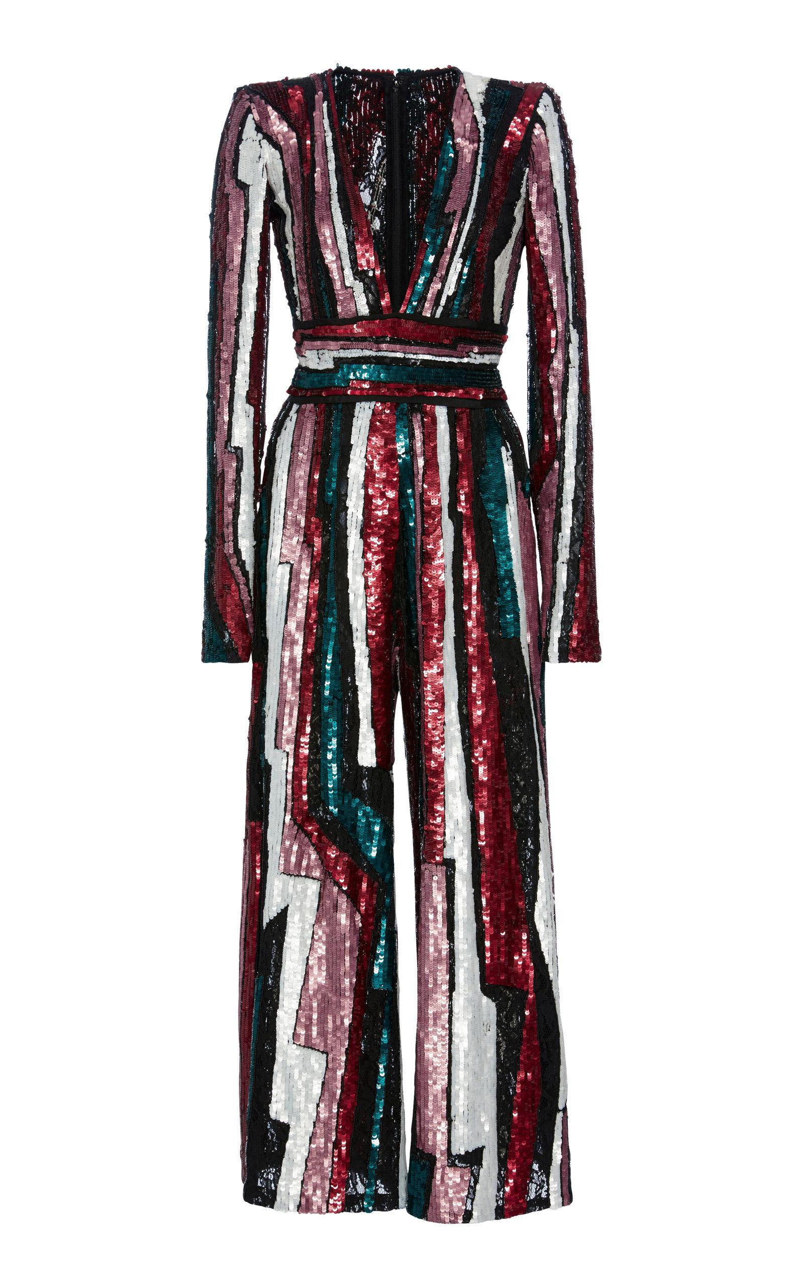 e3bc2c4991c Zuhair Murad Striped Sequined Tulle Jumpsuit