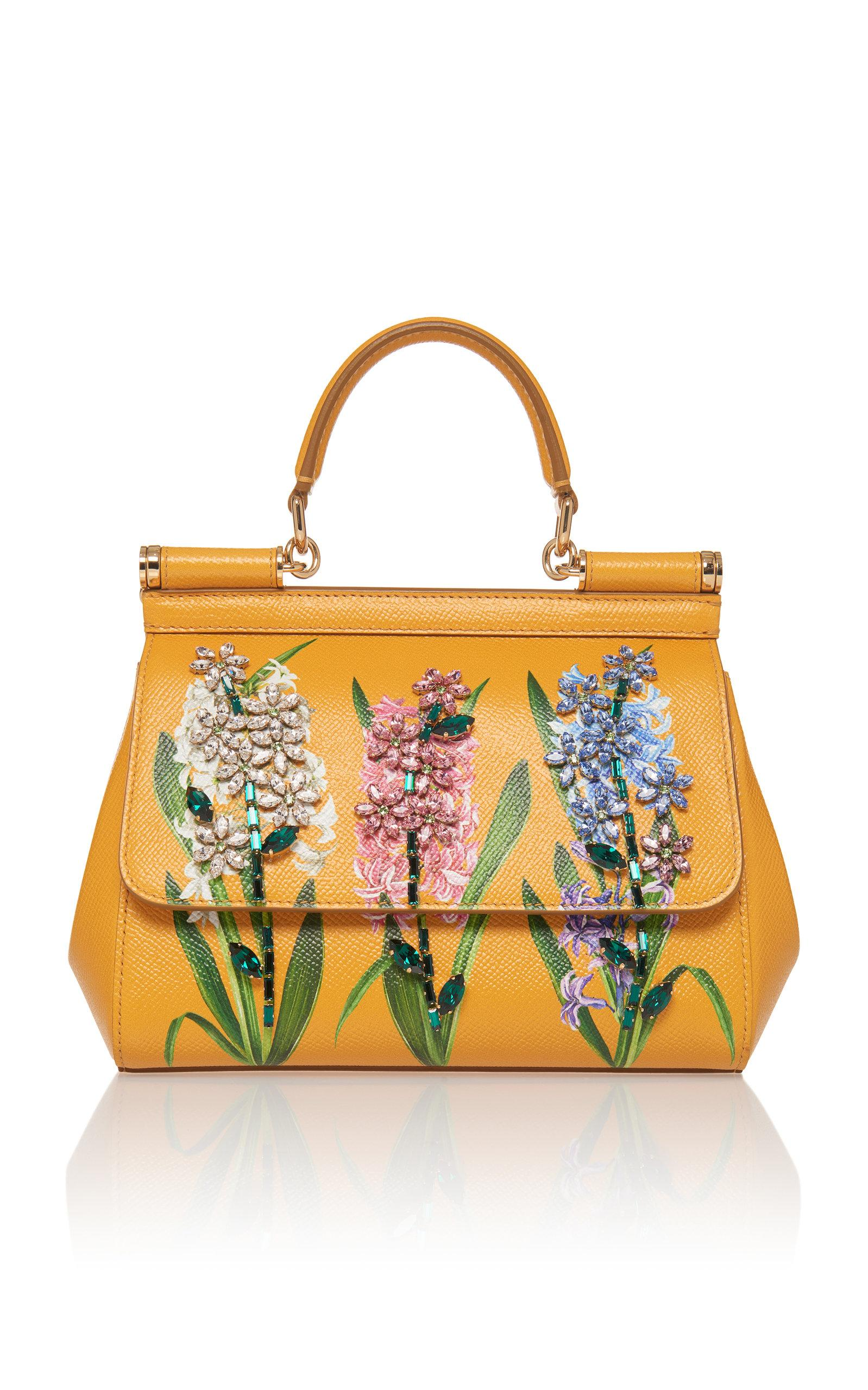 8b22837438 Dolce   Gabbana Sicily Handbag In Printed Dauphine Calfskin With  Embroideries In Marigold