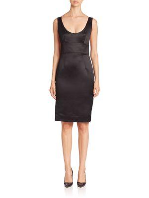 Milly Duchess Satin Dress In Black