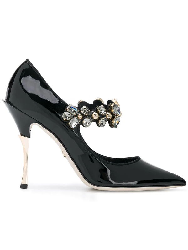 9b24e693bc0531 Dolce   Gabbana Crystal-Embellished Patent-Leather Mary Jane Pumps In Black