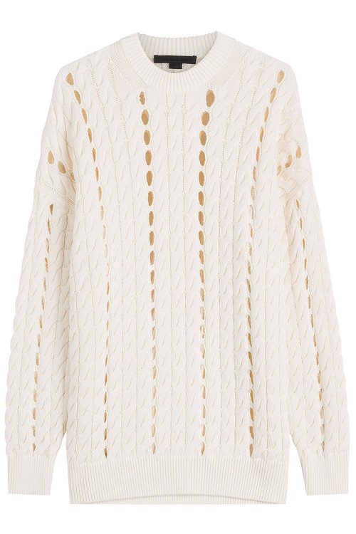 Alexander Wang Cotton Pullover With Cut-out Detail In White