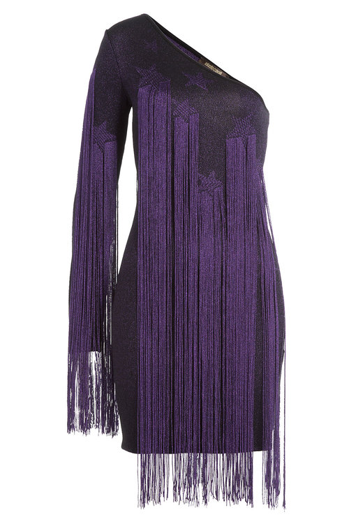 Roberto Cavalli Asymmetric Dress With Fringing In Multicolored