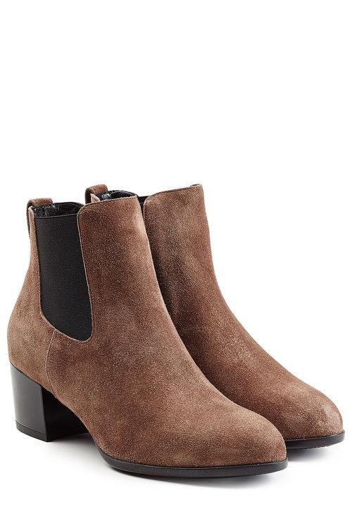 Hogan Women's Suede Heel Ankle Boots Booties H272 Tronchetto Liscio Elastico In Brown