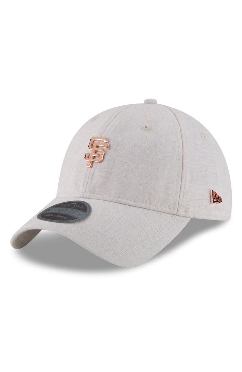 New Era Mlb Badged Black Label Linen & Cotton Ball Cap - Beige In San Francisco Giants