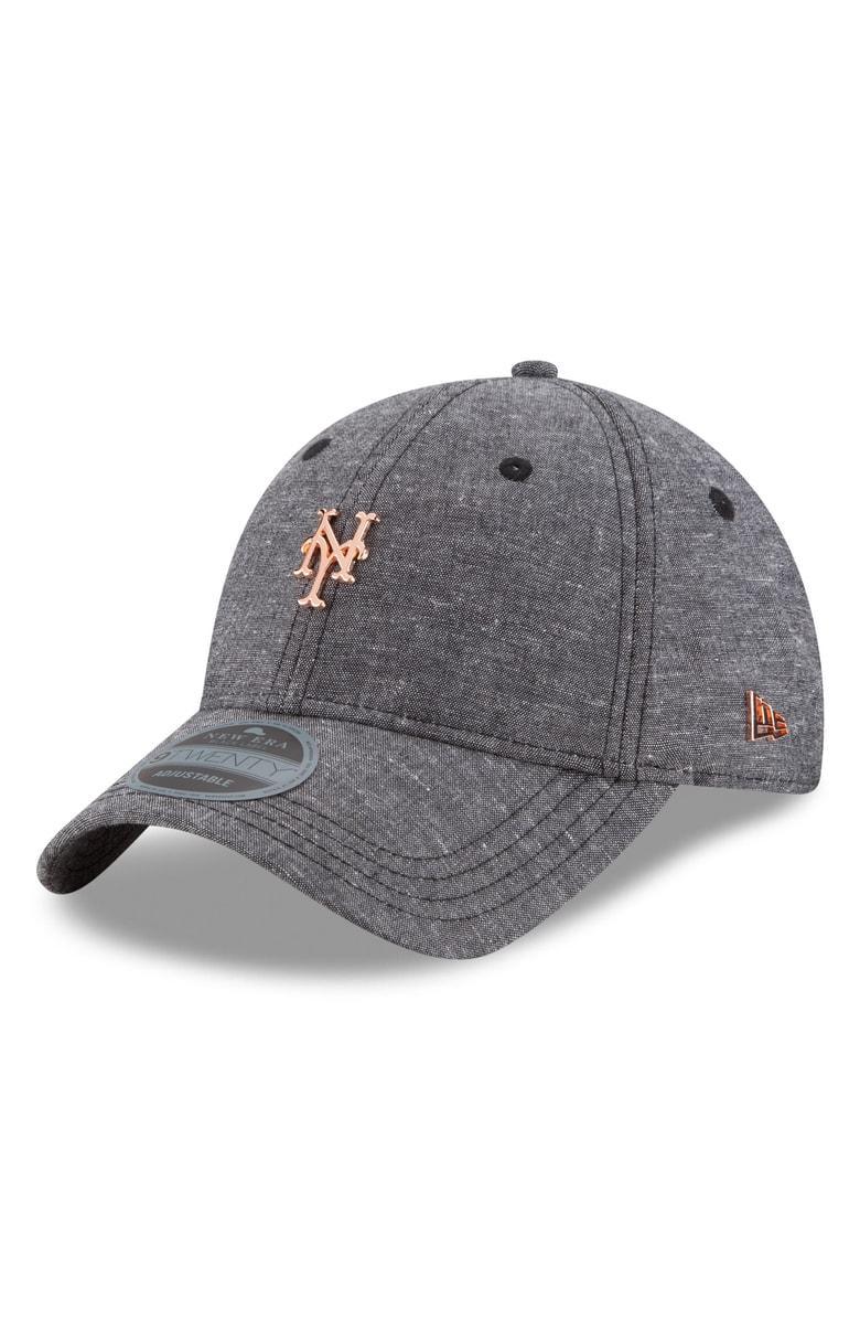 New Era Mlb Badged Black Label Linen & Cotton Ball Cap - Black In New York Mets