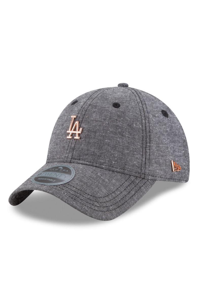 New Era Mlb Badged Black Label Linen & Cotton Ball Cap - Black In Los Angeles Dodgers
