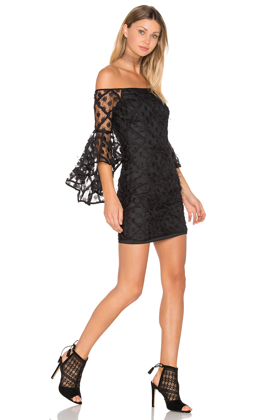 Milly Selena Embroidered Lace Mini Dress In Black