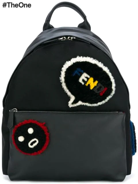 Fendi Faces Shearling-appliquÉ  Leather Backpack In Black